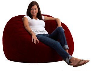 """1 PC Maroon Velvet Bean Bag Cover Large 44"""" x 44"""" x 24""""(inch) [Without Beans]"""