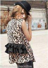SASS & BIDE 'The Ringleader' Leopard Print Taffeta Frilled Draped Tee - Sz 6-10