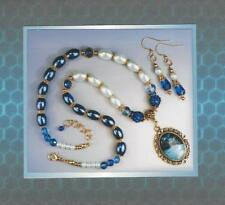 Vintage Design Blue Faux Pearl & Cabochon Pendant Necklace and Earring Set 5127