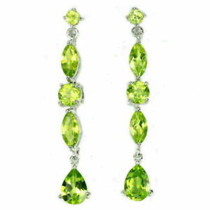 Earrings Green Peridot Genuine Natural Gems Drop Dangle Design Sterling Silver