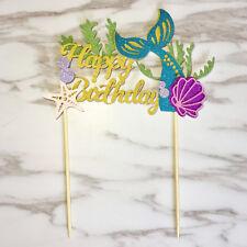 Starfish Mermaid Happy birthday Cake Toppers Cupcake Baby Shower DIY Gifts FU