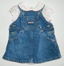 OSHKOSH girls Blue Denim Jumper DRESS + CARTERS Flower Romper OUTFIT* 3 months