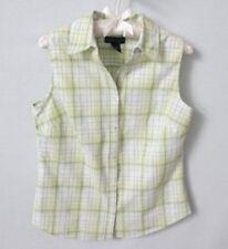 Karen Scott green plaid cotton blend sleeveless button front blouse *Sz 8*