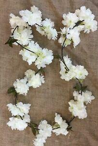 Artificial Flowers - Ivory Cherry Blossom Garland Length 6 Feet, Wedding Garden