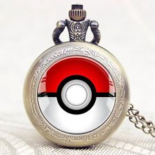 Anime Cosplay Pokemon Ball Quartz Pocket Watch Necklace Men Student Watches Gift