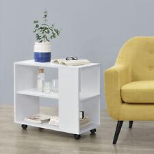 [en.casa] Beistelltisch Rolltisch Wohnzimmertisch Sofatisch Tisch Rollbar Weiß