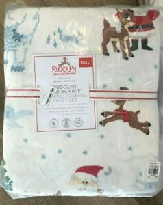 Pottery Barn Kids Organic Rudolph reindeer and Bumble Sheet set FULL Flannel