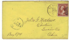 1885 2c brown banknote Cover Albion NY to Oberlin OH Orleans County