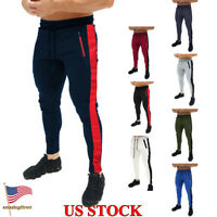 New Mens Slim Fit Trousers Zipper Pocket Tracksuit Casual Pants Jogging Joggers