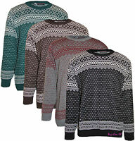 New Men's Knitted Crew Neck Jumpers Nordic Aztec Pullover Tops UK Size S to XL