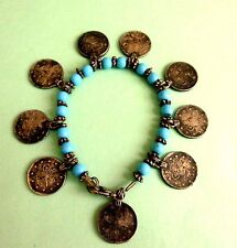 Old Turkey turquoise charm bracelet with 9 real expensive silver coins 1876