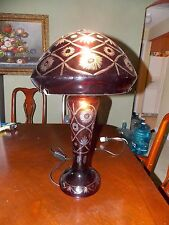 Cut To Clear Bohemian Glass Blood Red Mushroom Lamp Double Lit