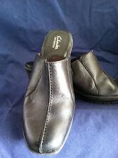 Clark Bendables Leather Ladies Black Clogs Slip On Mule Heels 6M