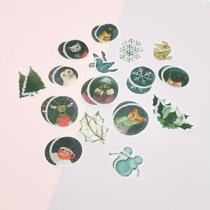 Winter Stickers,Night Sky Stickers,Animal Stickers,Fox,Owl,Deer Stickers,32pc