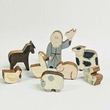 Vintage Noah Ark Figure with Seven Animals Wood Hand Made Primitive Folkart