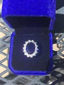 Kate Middleton Sapphire Diana Sapphire engagement Ring White Gold - 1-k1