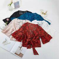 Women Floral Lace Shrug Bolero Cardigan Ruffle Flare Sleeve Shawl Cape Tops Cosy