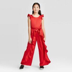 Girls' Ruffle Satin Jumpsuit art class Red M