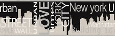 USA URBAN LOVE BIG APPLE NEW YORK CITY BLACK SILVER  WALLPAPER BORDER 5 Metre