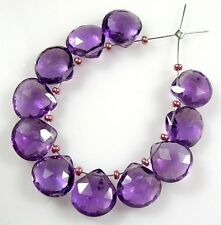 12 GENUINE AFRICAN AMETHYST FACETED HEART BRIOLETTE BEADS 7 mm  A2
