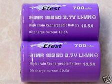 2 EFEST IMR 18350 BATTERY LI-MN 700mAh 3.7v 10.5A HIGH DRAIN  V1 FLAT TOP PURPLE