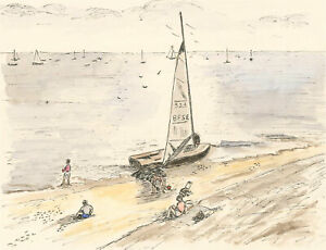 Sylvia Grottick - 20th Century Pen and Ink Drawing, Sailing Boats from the Beach