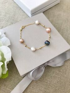 Dainty Gold Plated Sterling Silver and Freshwater Pearl Beaded Bracelet
