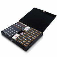 JAPANESE Mahjong Mahjongg Pai Mizi Size SET with Case Black from JAPAN