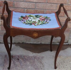OLD WOODEN INLAID PIANO STOOL TO TIDY UP OR RESTORE, BUT IS VERY USEABLE