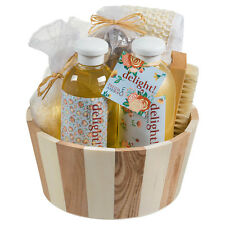 Delight! Two tone natural wood round basket spa set!