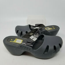 Dr. Scholls Gray Rubber Wedge Clog Mule Slip On Sandal Slides Women Size 6 M
