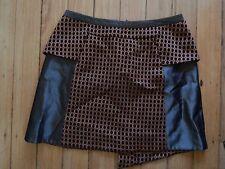 CUE sz 10 bronze & black short / mini skirt w/ peplum waist detail - FREE POST