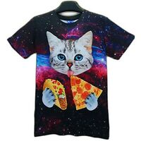 Cat eating Pizza and Taco in Space T-Shirt ( all over funny 3d print tee )
