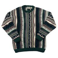 Vintage Cotton Traders Mens Hip Hop Multicolor Crew Neck Textured Sweater Size M
