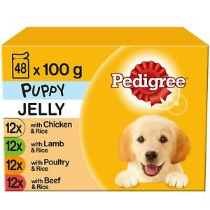 48 x 100g Pedigree Puppy Junior Wet Dog Food Pouches Mixed Selection In Jelly