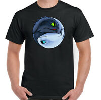 Toothless Yin and Yang Mens Funny How to Train Your Dragon Inspired T-Shirt Top