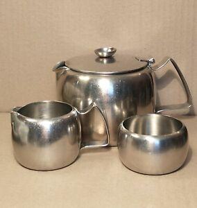 "Vintage Classic ""OLD HALL"" Teapot, Milk Jug, Sugar Bowl 18/8 Stainless Steel"