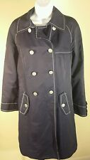 Ann Taylor Loft Navy Trench Coat Jacket Sz 4 White Double Breasted Long Sleeve