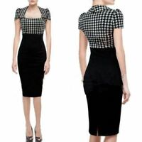 UK WOMEN ROCKABILLY DOGTOOTH CHECK OFFICE PENCIL MIDI DRESS SIZE 8-20
