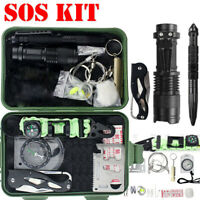 Emergency SOS Kit Outdoor Camping Hiking Survival First Aid Sets LED Torch