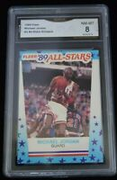 GMA Graded 8 NM-MT 1989 Fleer #3 All-Stars Stickers Michael Jordan Chicago Bulls