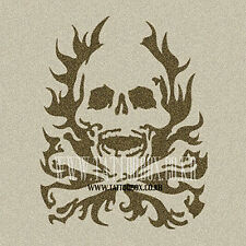 Reusable airbrush temporary tattoo stencil   - Flaming Skull (Medium size)