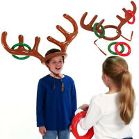 Inflatable Santa Xmas Reindeer Antler Hat Ring Toss Christmas Party Games Toys