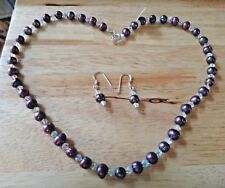 "17"" Burgundy Purple 6mm FW Pearl 4mm AB Crystal Sterling Silver Necklace Earring"