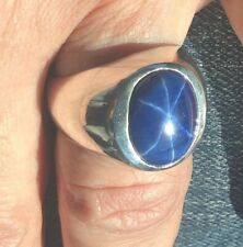 MJG STERLING SILVER MEN'S RING-LOW PRO.12 X 16mm BLUE STAR SAPPHIRE. 21 GRAMS
