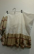 Lambs & Ivy Crib Skirt Dust Ruffle Noahs Ark Tan Red Blue 100% Cotton
