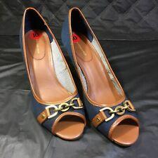 Tommy Hilfiger Women's 'Tawnisha' Peep Toe Canvas Cork Wedges Sandals Size 10
