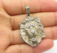 925 Sterling Silver - Vintage Sculpted Lion's Head Motif Drop Pendant - P9447