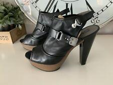 DKNY Liza Black Strappy Slingback Platform Peep Toe Shoes Uk7
