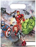 Avengers Pack Of 6 Party Loot Bags Disney Marvel Iron Man Black Widow Hulk